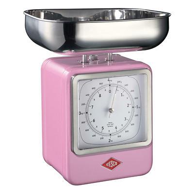 Wesco - waga kuchenna z zegarem, różowa