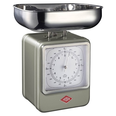Wesco - waga kuchenna z zegarem, srebrna