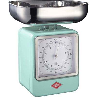 Wesco - waga kuchenna z zegarem, turkusowa