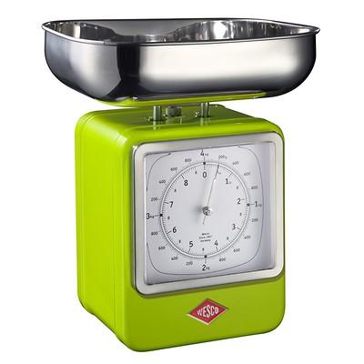 Wesco - waga kuchenna z zegarem, zielona