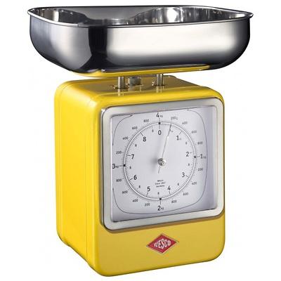 Wesco - waga kuchenna z zegarem, żółta