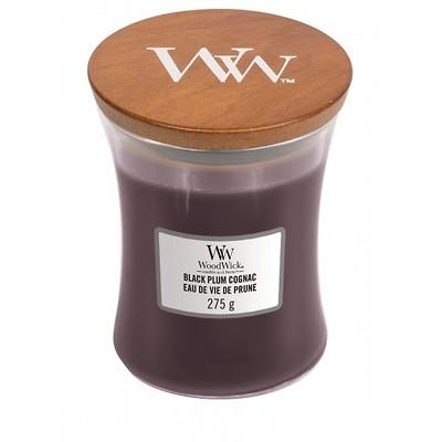 WoodWick - Świeca średnia Black Plum Cognac