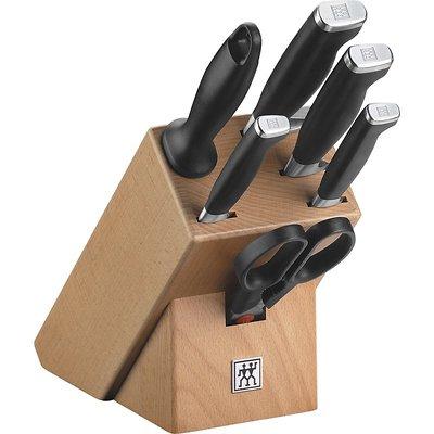 Zwilling - Twin Four Star Zestaw 4 noży z nożyczkami, ostrzałką i blokiem